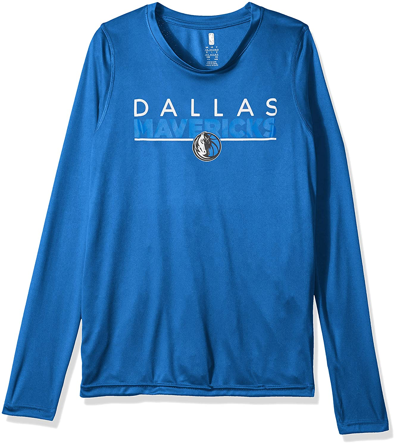 14-16 Strong Blue Youth Large Outerstuff NBA NBA Youth Boys Dallas Mavericks Tactical Stance Long Sleeve Performance Tee