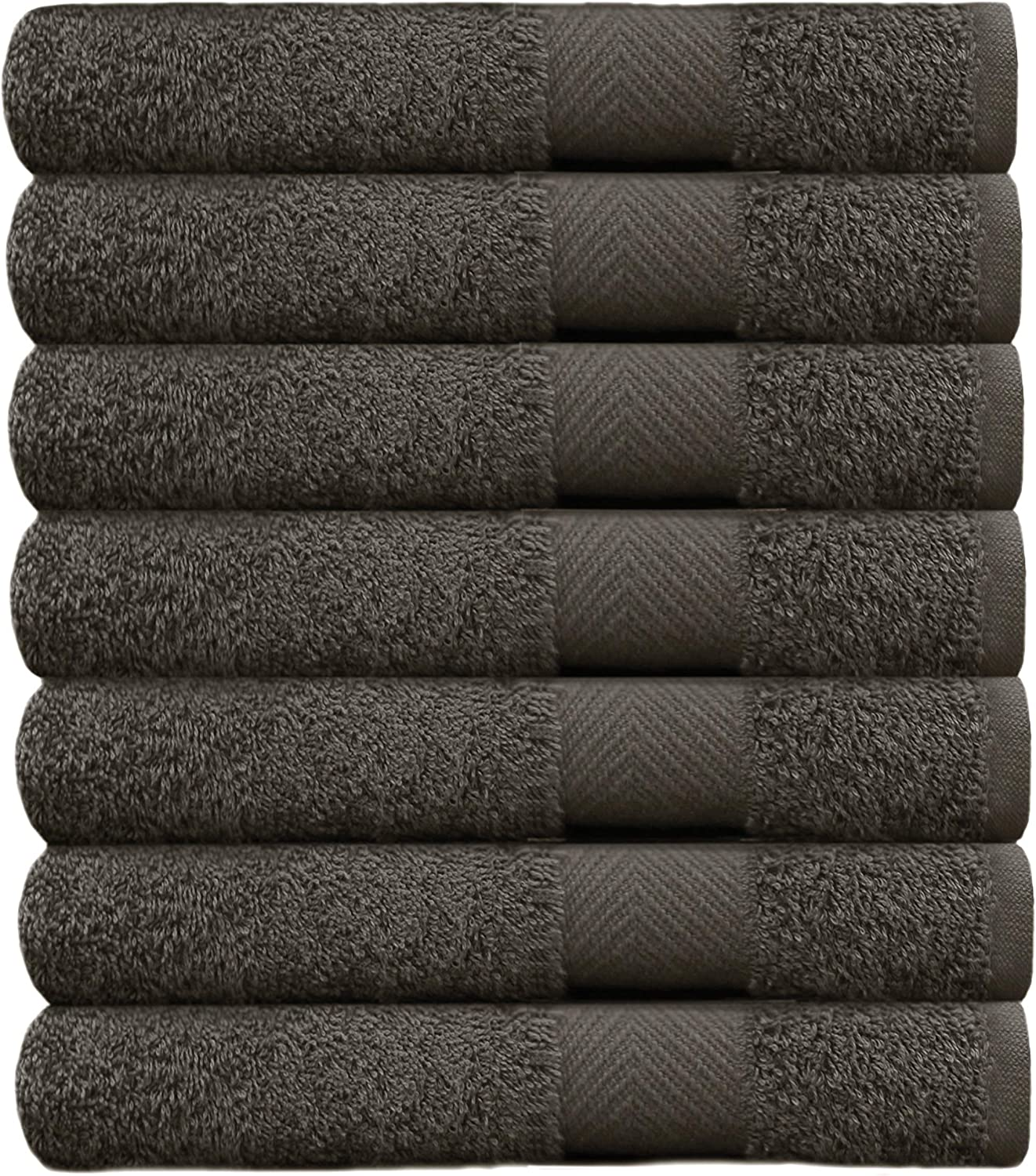 COTTON CRAFT Simplicity Ringspun Cotton Set of 7 Lightweight Bath Towels, 27 inch x 52 inch, Charcoal
