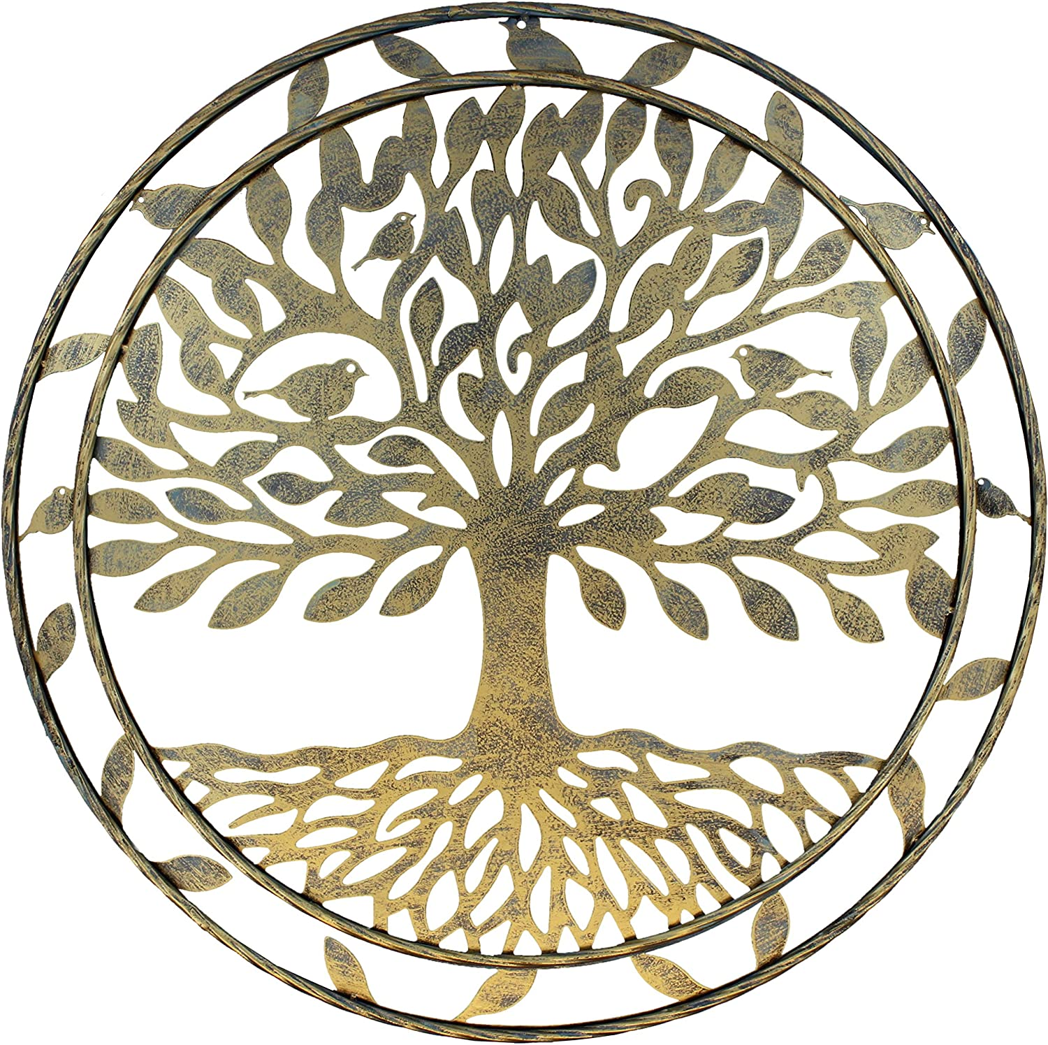 "Old River Outdoors Large Metal Tree of Life Wall Decor Art - 23 1/2"" Rustic Plaque"