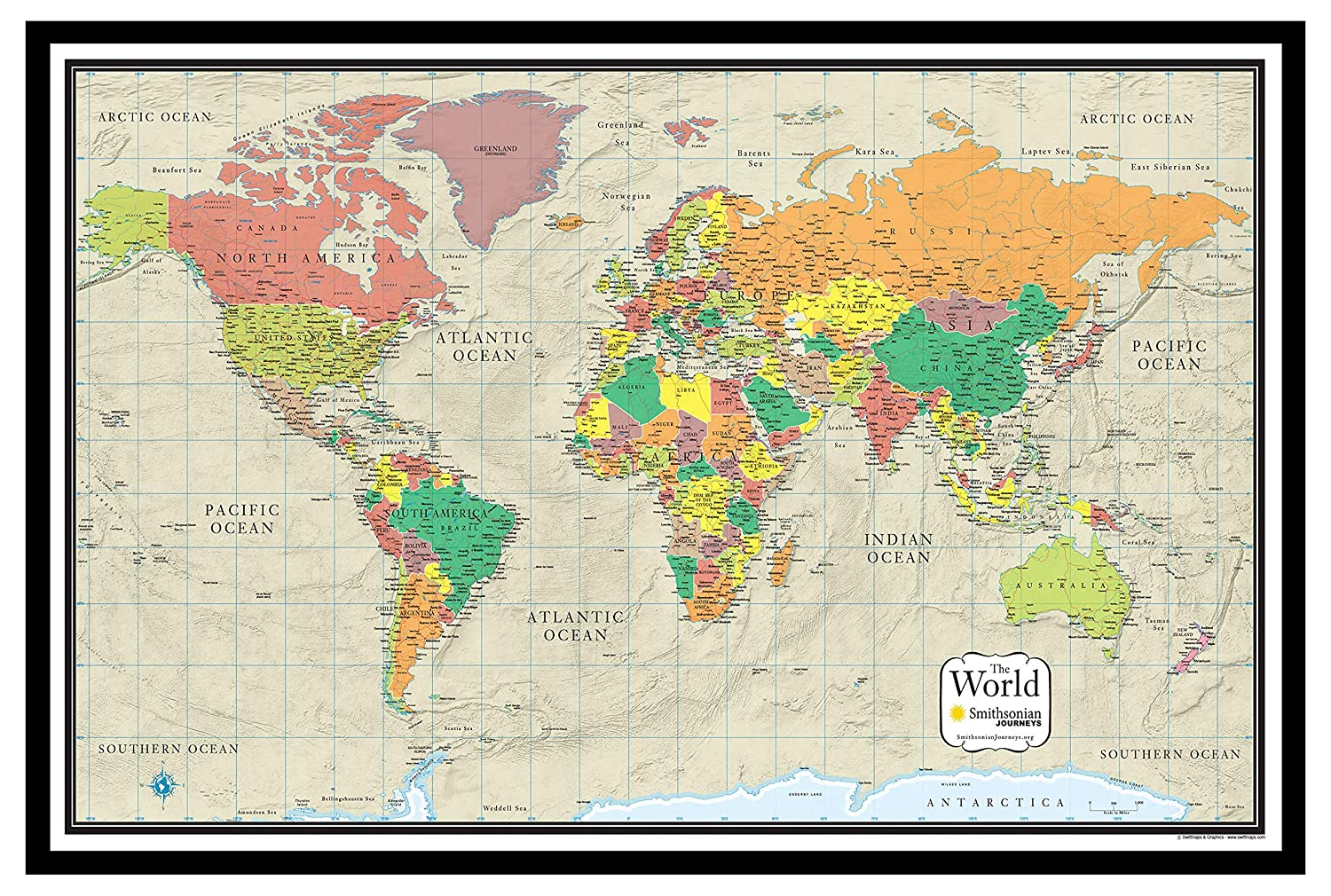 24x36 World Wall Map by Smithsonian Journeys - Tan Oceans Special Edition  (24x36 Paper Folded)