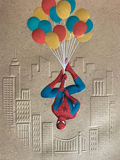 Amazon Com Spiderman Birthday Greeting Card Balloons Office Products
