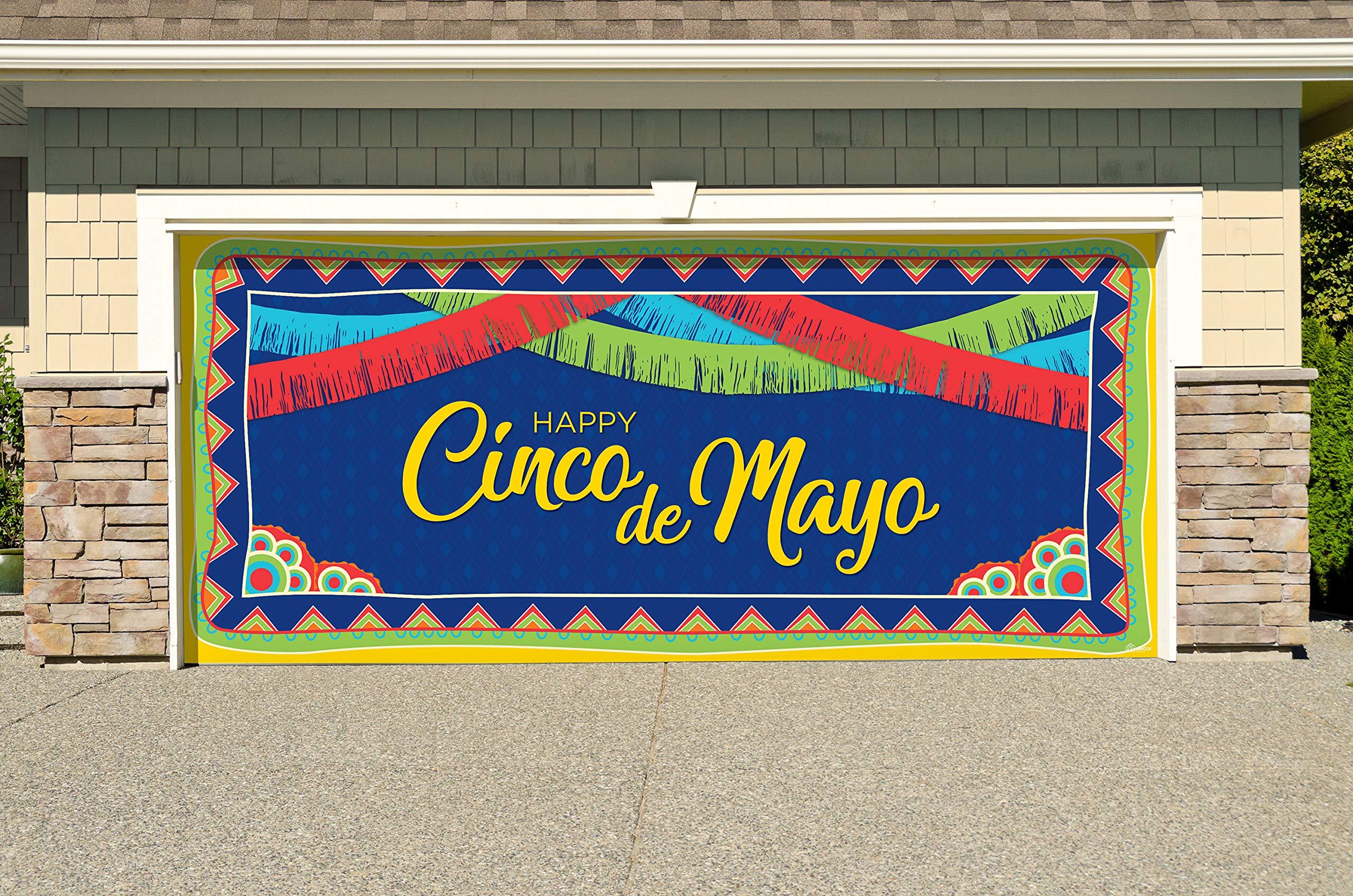 Victory Corps Happy Cinco de Mayo Pattern - Holiday Garage Door Banner Mural Sign Décor 7'x 16' Car Garage - The Original Holiday Garage Door Banner Decor