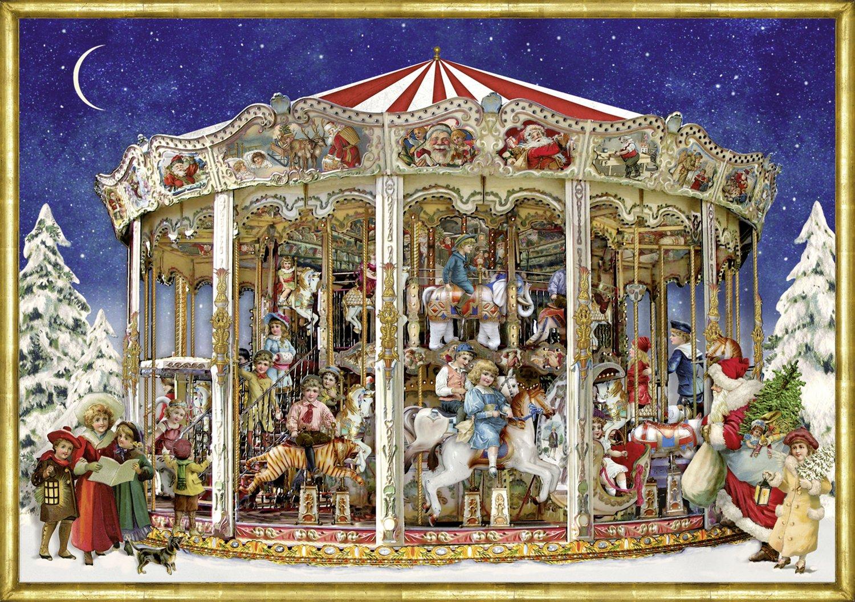 Nostalgic Christmas Roundabout Carousel A4 Traditional German Advent Calendar Coppenrath