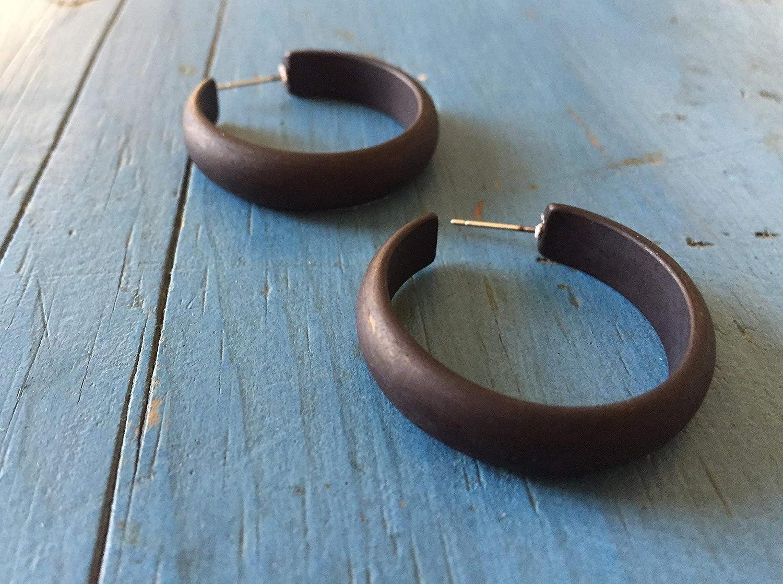 Vintage Lucite Matte Black Hoops Black Hoop Earrings