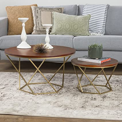 WE Furniture Geometric Wood Nesting Coffee Tables   Walnut/Gold