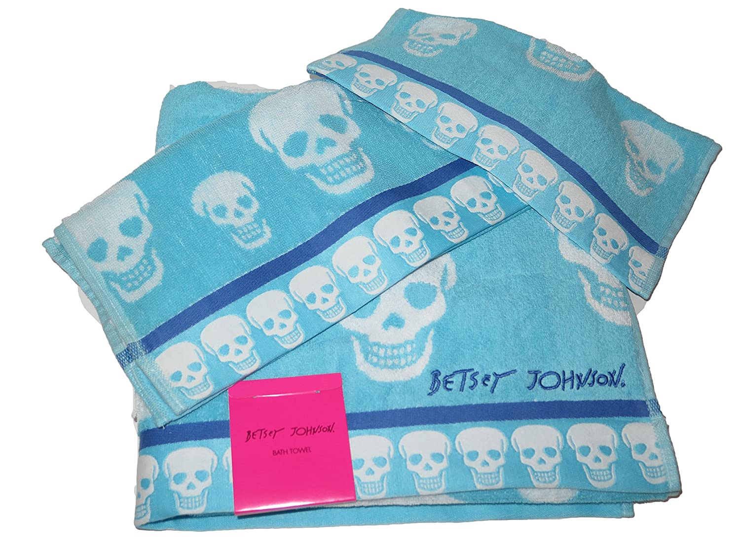 Amazon.com: Betsey Johnson CRAZY SKULLS Blue White Bath Towel Hand ...