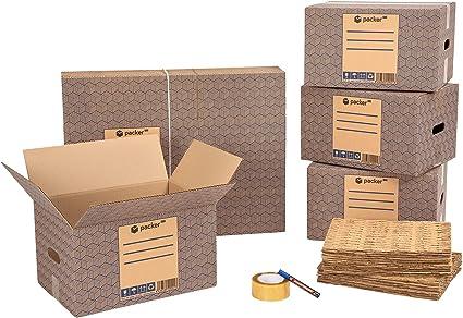 packer PRO Pack Mudanza Eco con 5 Cajas Carton Mudanza 600x300x275mm, 10 Cajas Carton Mudanza 430x300x250mm, Cinta Adhesiva, 25 Mallas de Protección para Embalaje, Rotulador Permanente: Amazon.es: Oficina y papelería