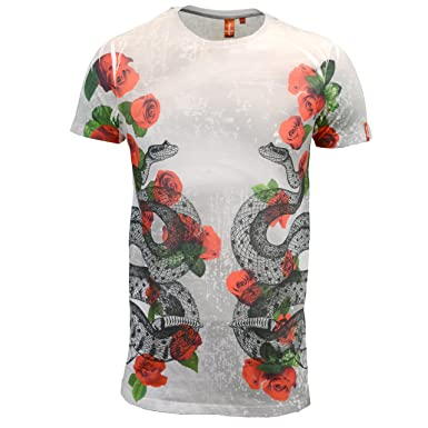 ab7843ccb Juice Mens Designer Branded Longline Floral Snake Slim Fit T Shirt (Large,  Black): Amazon.co.uk: Clothing