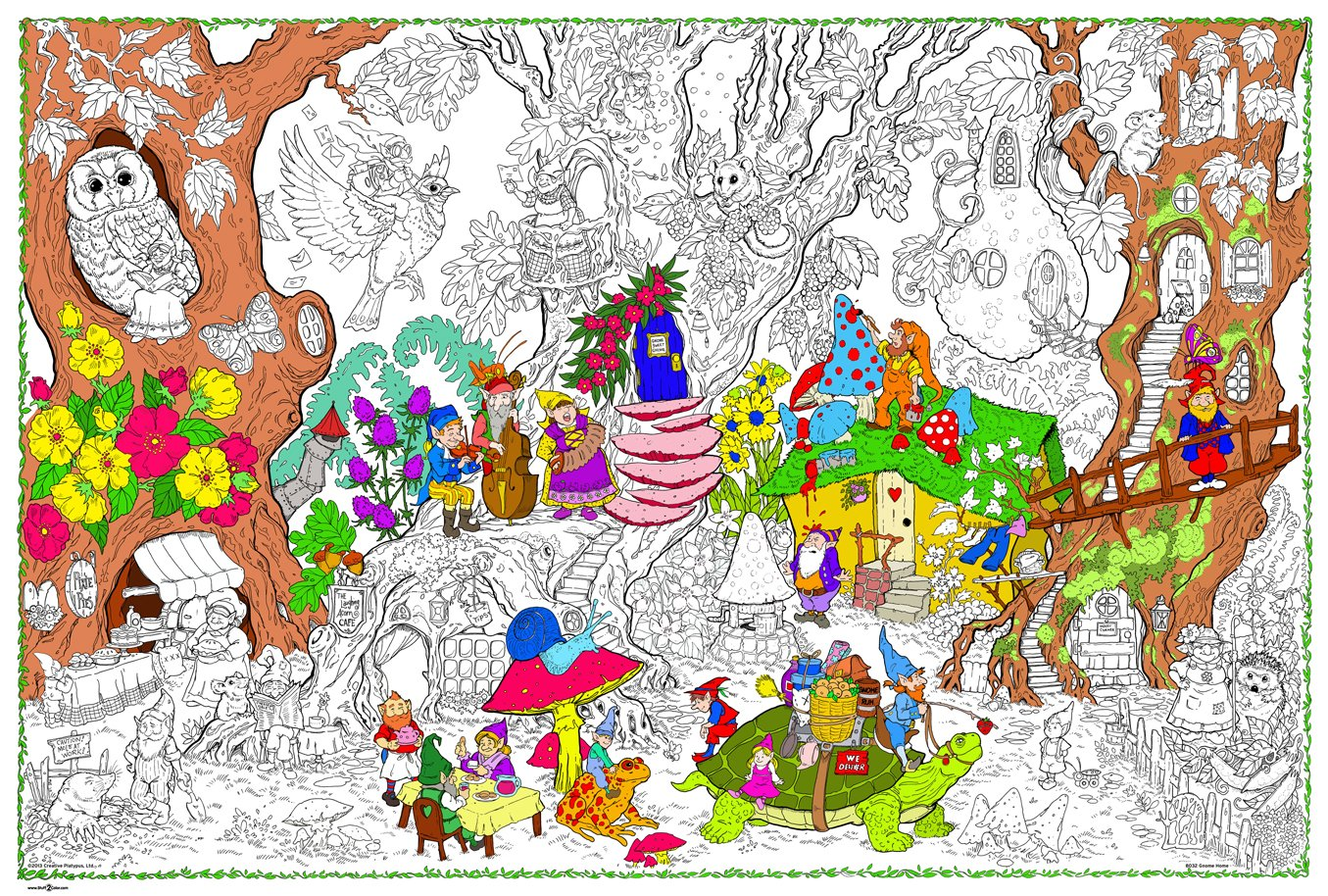 Gnome Home - Giant Wall Size Coloring Poster - 32.5\