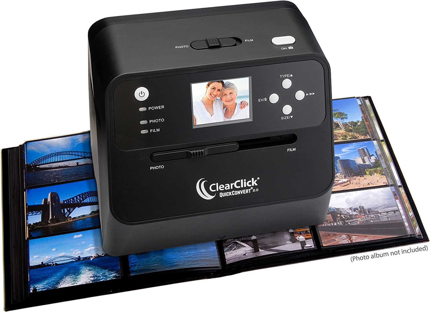 ClearClick 14 MP QuickConvert 2.0 Photo, Slide, and Negative Scanner - Scan 4x6 Photos & 35mm, 110, 126 Film