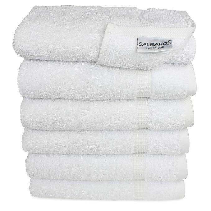 SALBAKOS Set de toallas de mano ecológicas de algodón turco para hotel y spa de lujo Pack de 6 Toalla de mano Blanco: Amazon.es: Hogar
