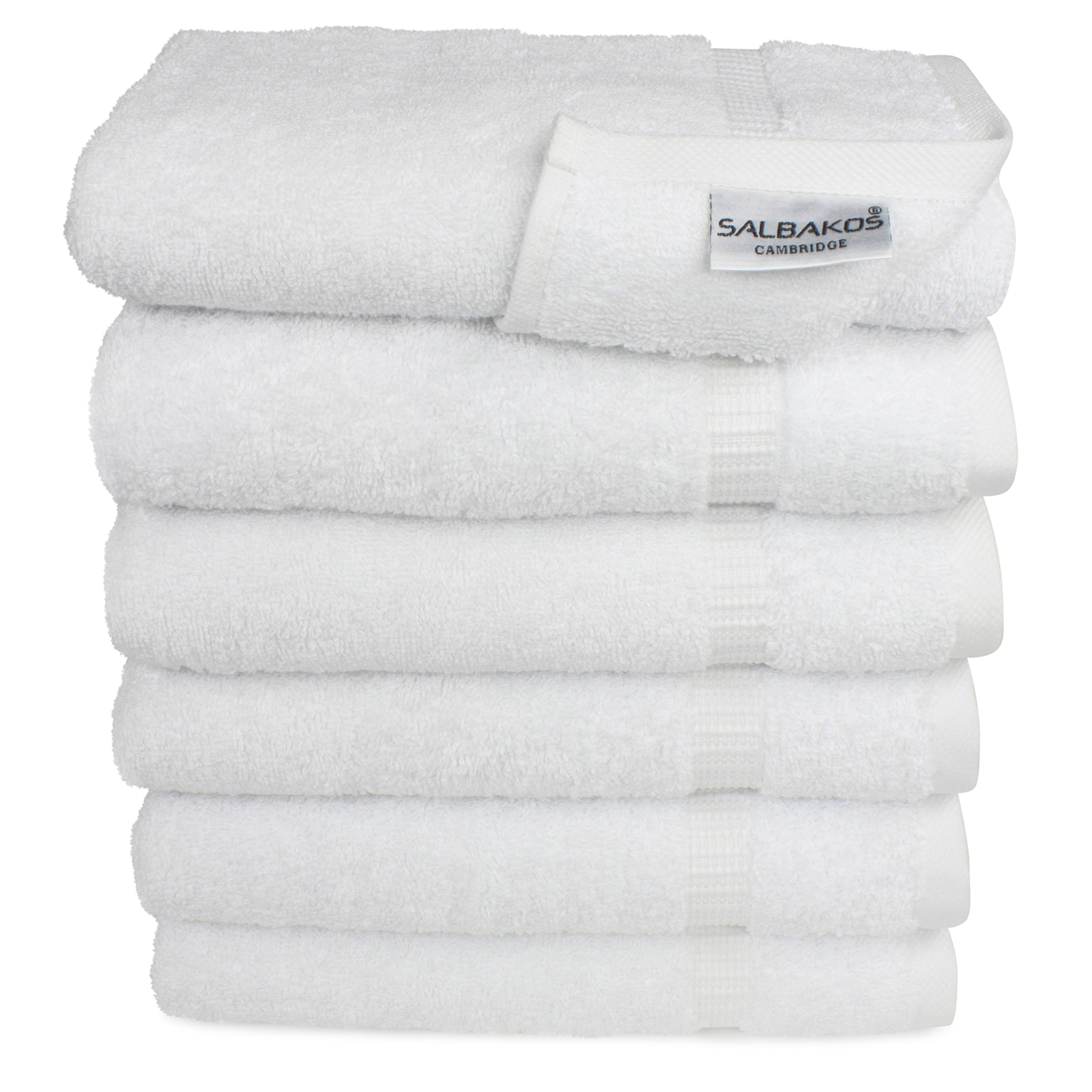 SALBAKOS Hand Towels for Bathroom, White Cotton, 6 Bulk Pack, 100 Percent Genuine Turkish Cotton, Luxury Hotel and Spa Quality, 700gsm OEKO-TEX Organic Eco-Friendly, (White) by SALBAKOS (Image #1)