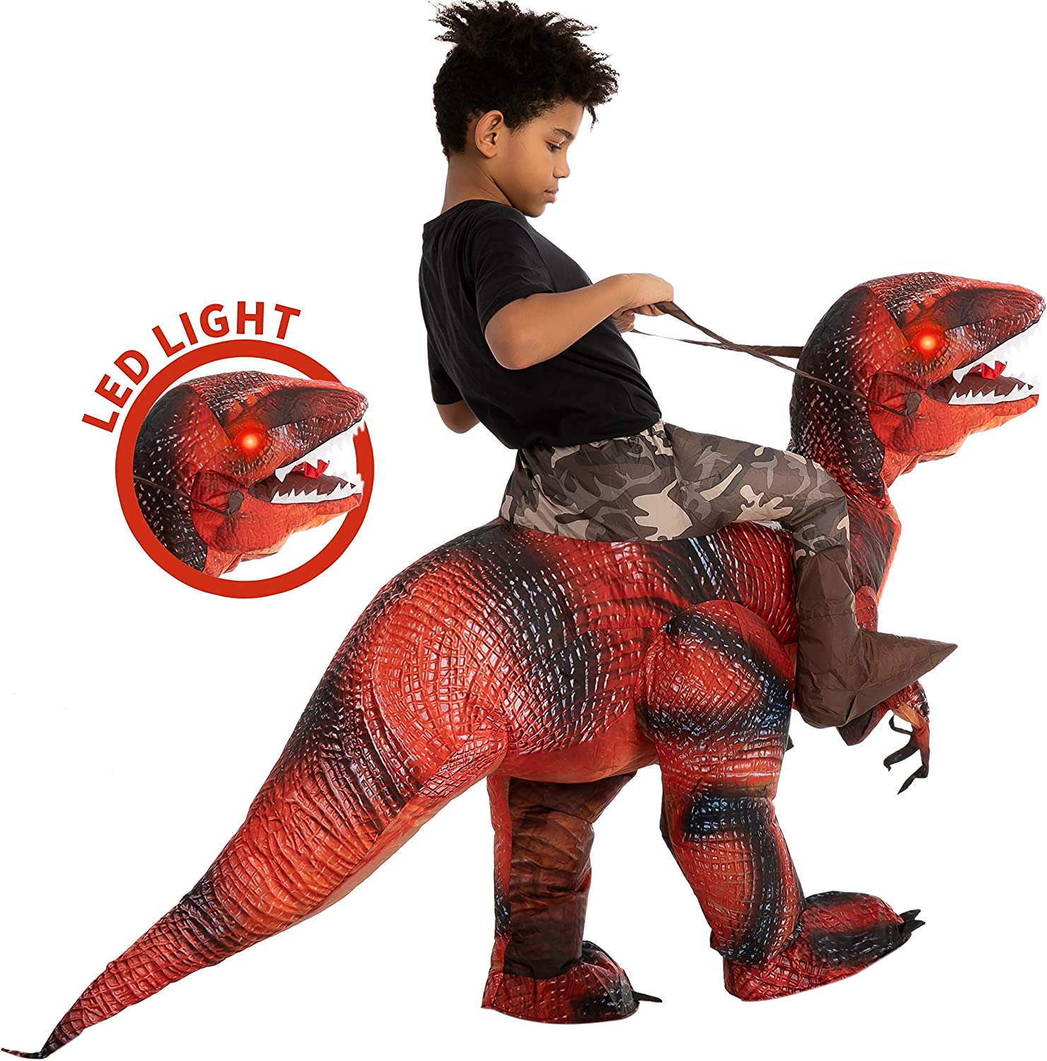 Child Unisex Spooktacular Creations Inflatable Halloween Costume Ride A Raptor Inflatable Costume with LED Light Eyes