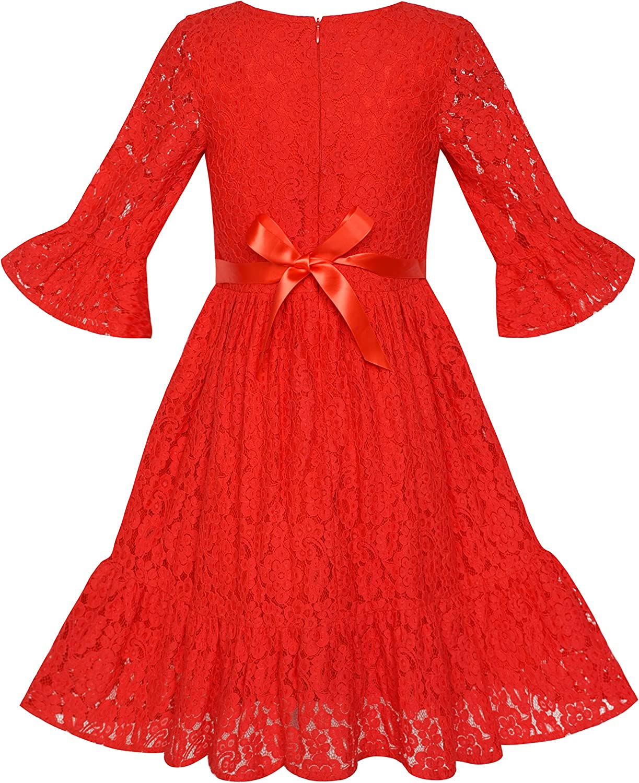 Sunny Fashion Vestido para niña Rojo Campana Manga Encaje Volante ...