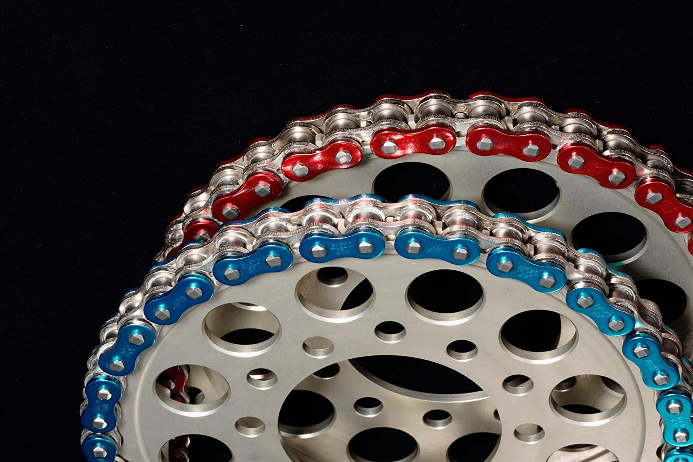 Metallic Blue Color: Blue EK 530ZVX3 X 140 MET BU Chain Length: 140 Chain Type: 530 EK Chain 530 ZVX3 NX-Ring Chain Chain Application: Street 140 Links