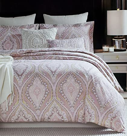 Rose Gold Bedding Glamour Damask Paisley Print Luxury Duvet Quilt Cover 3pc Set By Cynthia Rowley