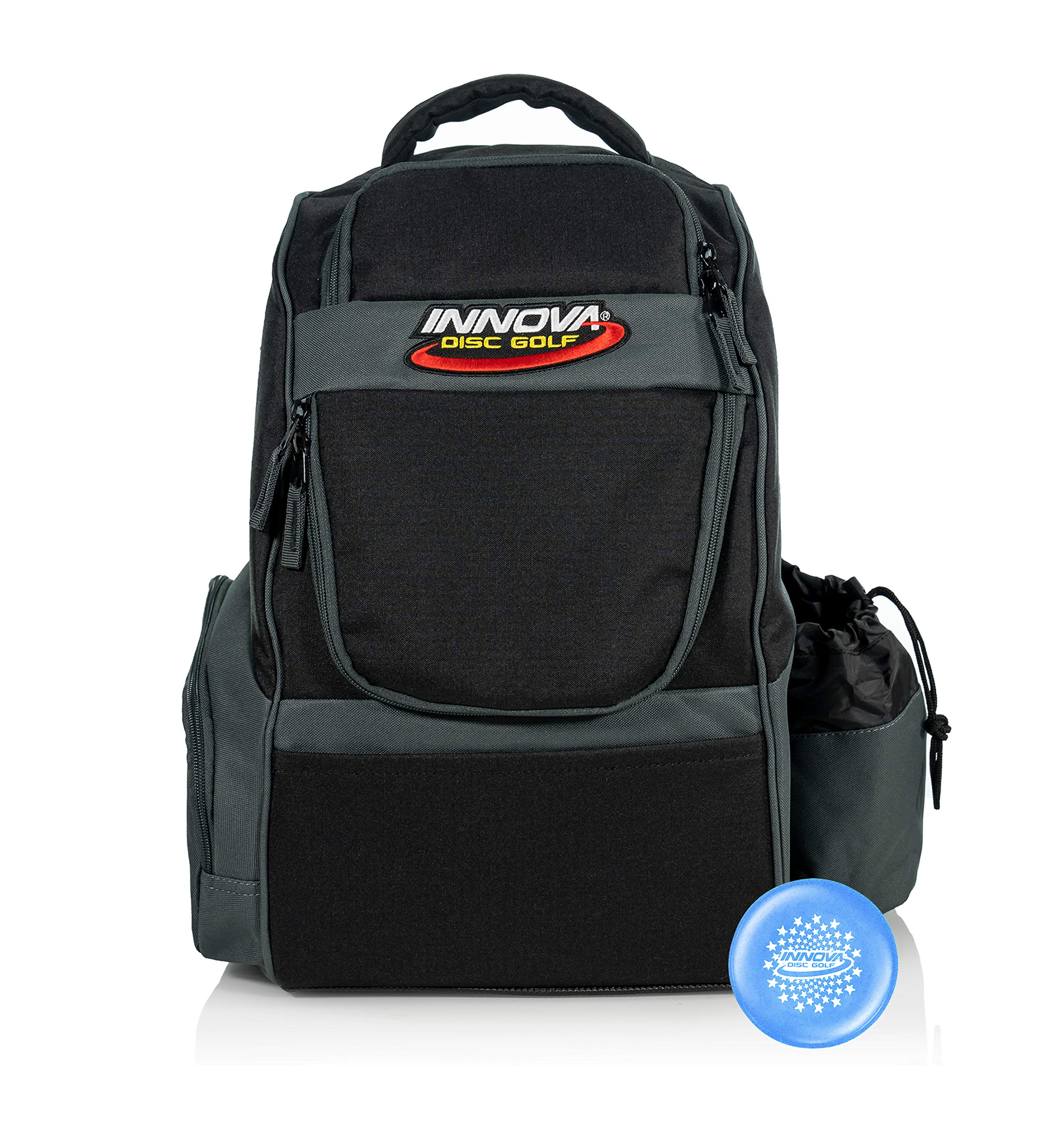 Innova Adventure Pack Backpack Disc Golf Bag - Holds 25 Discs - Lightweight - Includes Innova Limited Edition Stars Mini Marker (Black/Grey)