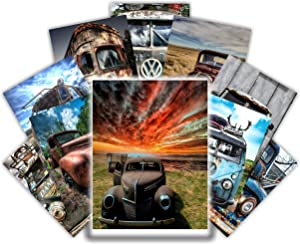 HK STUDIO Vintage Vehicle Decor, Vintage Car Posters for Wall Collage Decor, Retro Room Decor, Garage Decor, All You Need for Your Man Cave Decor, Vintage Stickers for Collage Wall Art Pub and Bar Decor, Pack 12