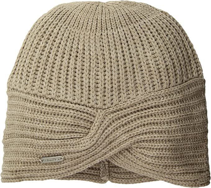 be5a1ac87e6 Calvin Klein Women s Turban Beanie Heathered Almond One Size at ...