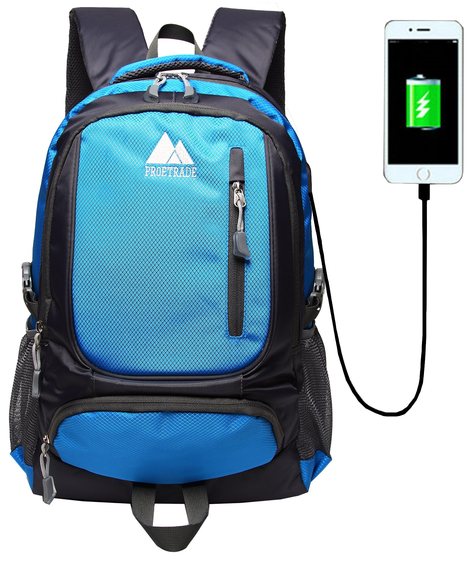 School Backpack Bookbag With USB Charging Port For College Travel Hiking Fit Laptop Up to 15.6 Inch Water Resistant (Blue)
