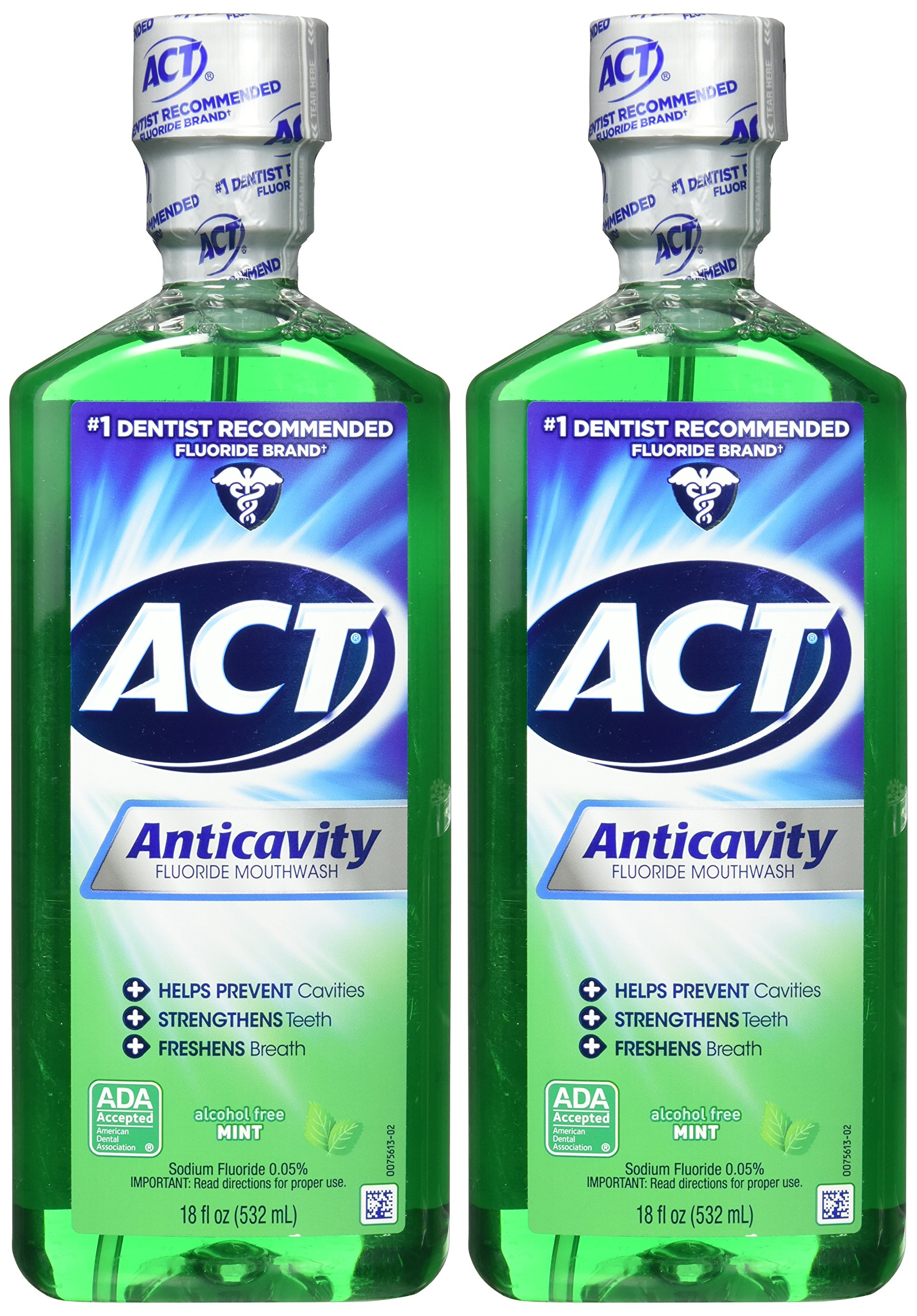 ACT Alcohol Free Anticavity Fluoride Rinse, Mint - 18 oz - 2 pk by ACT (Image #2)