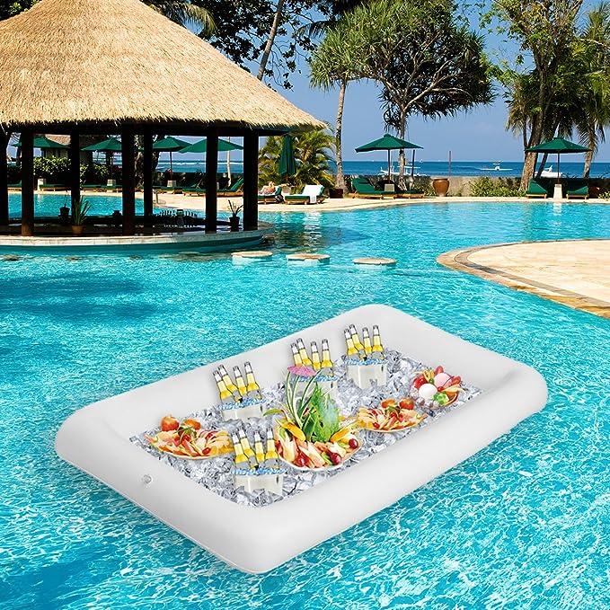 Baban Spa Bar Bandeja para bebidas y bocadillos PVC Inflable barra de hielo Barra de ensalada inflable Piscina de hielo inflable Beber cubo de hielo ...