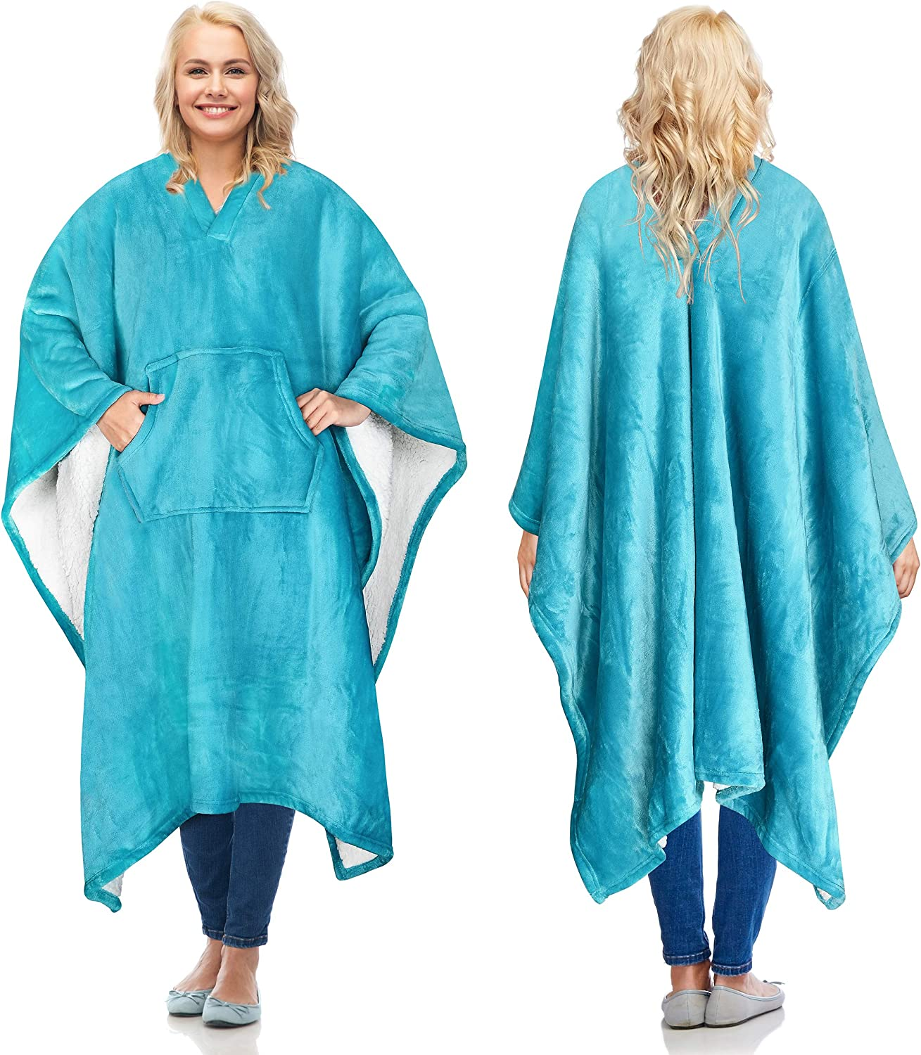 Catalonia Sherpa Wearable Blanket Poncho for Adult Women Men,Wrap Blanket Cape with Pocket,Warm,Soft,Cozy,Snuggly,Comfort Gift,No Sleeves,Aqua