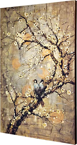 Collective Design Contemporary Birds On Branch-Hand Embellished-Stretched Canvas Wall Art