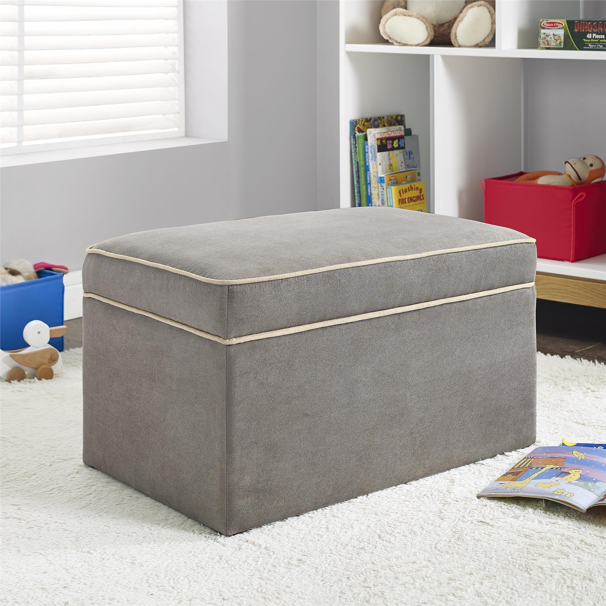 Baby Relax Hadley Nursery Storage Ottoman for Baby Gliders, Dark Taupe