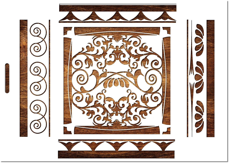 Motif Baroque pour Frise Mural 21 * 29,7 cm Boutique disacrea Pochoir en Plastique Mylar Format A4