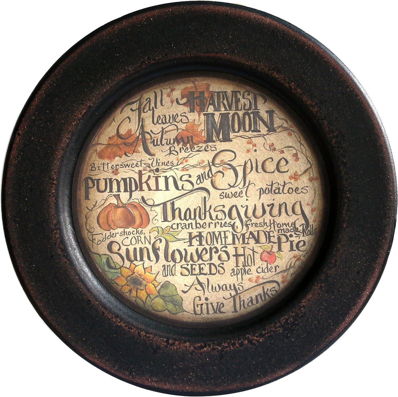 CVHOMEDECO. Primitive Vintage Fall Decorative Wood Plate Festival Display Wooden Plate Home Décor Art, 11-1/4 Inch