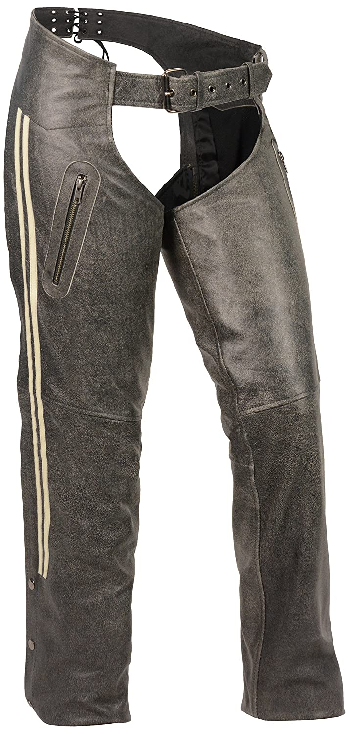 Milwaukee Leather Women's Chap with Color Stripe (GREY, 4X-Large) MLL6505-GRY-4X