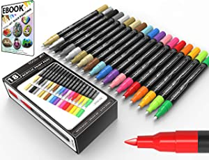 TOOLI-ART 18 Acrylic Paint Pens Assorted Markers Set 0.7mm Extra Fine Tip for Rock, Canvas, Mugs, Most Surfaces. Non Toxic Water-Based, Quick Drying