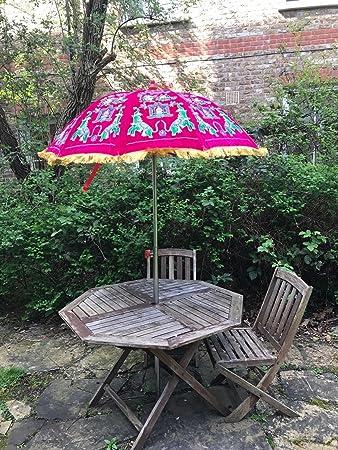 Amazonde Bazzaree Garten Samt Pink Grün Sonnenschirm Handgefertigt