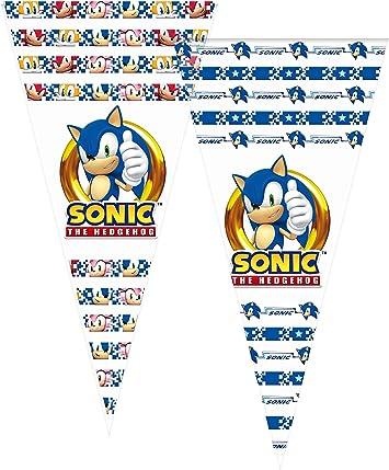 ALMACENESADAN 2357; Pack 6 Bolsas de Cono Sonic; Ideal para Fiestas y cumpleaños; Bolsas para gominolas o Regalos; Producto de plástico; Dimensiones 20x40 cm: Amazon.es: Juguetes y juegos