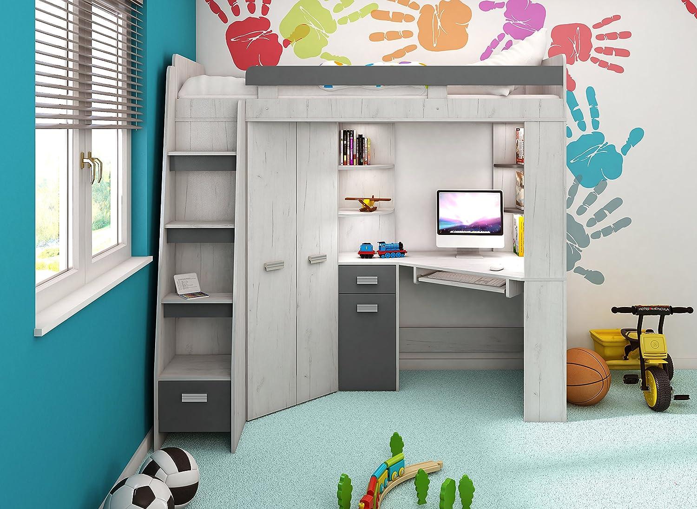 con scala a destra o a sinistra,/set di mobili per bambini Letto Letto a soppalco//letto a castello/tutto in uno armadio Craft-white//Graphite scrivania mensole Right Hand-side Stairs.