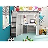 Ensemble de meubles mezzanine/lit superposétout en un avec échelle à droite ou à gauche pour enfants lit, armoire, étagères, bureau.