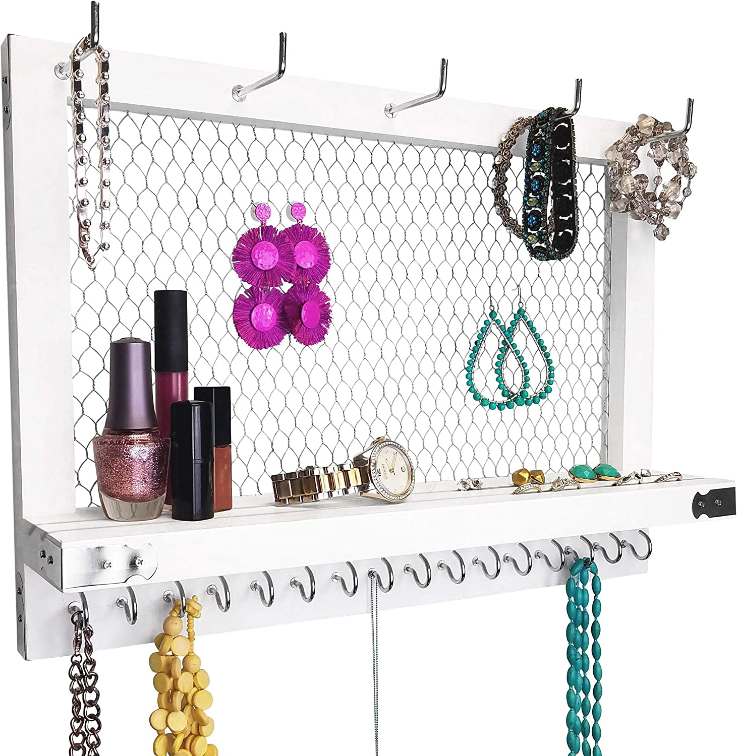 Outshine Large Farmhouse Wall Jewelry Organizer and Wall Decor (White/Silver) | Vintage Wall Organizer For Earrings, Necklaces, Bracelets, Hair Accessories | Diamond Shape Chicken Wire Earring Holder | Perfect Gift For Women, Wife, Mom, Girlfriend