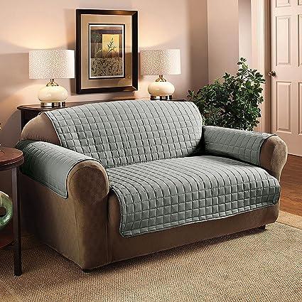 223 x 190cm Protector de sofá acolchado Throw Protector de muebles Cubierta resistente al agua (2 plazas, gris)