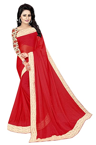 3e8859a717c Rensila Lycra Saree With Blouse Piece(NIS Eliphant Red S Red Free Size)   Amazon.in  Clothing   Accessories