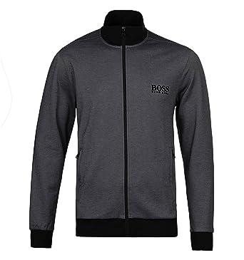 546578737b330b Hugo Boss Herren Piqué Baumwolle Reißverschluss Trainingsanzug Jacke, Grau/schwarz  Kleine