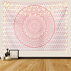 Ftuency Pink Mandala Tapestry, Indian Hippie Bohemian Psychedelic Tapestries Women Wall Hanging for Bedroom Teen Girl(Pink, 51.2