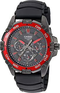 Casio Mens MTD1069B-1A2 Round Analog Black and Red Dial and Black Resin Strap Watch