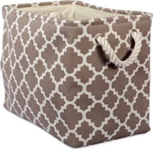 DII Printed Polyester Storage Bin  -Large Rectangle, Brown Lattice