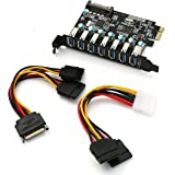 7-Port Superspeed USB 3.0 PCI-E Express Expansion Card with SATA 15Pin Connector for Desktops with Power Cables[ Chipset: Renesas µPD720201 + VIA VL812)