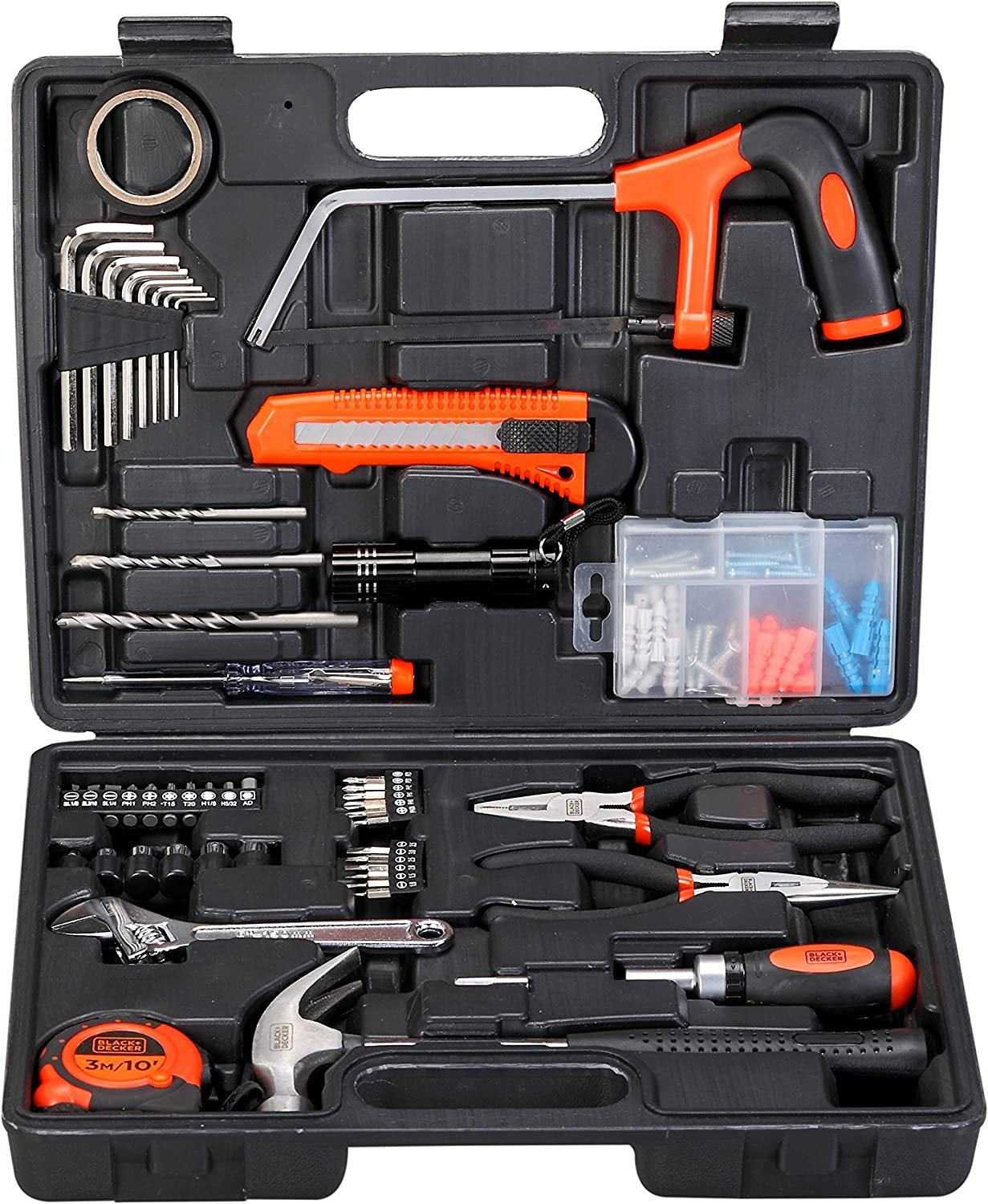 Black+ Decker Hand Tool Kit (108 pieces), Orange and Black