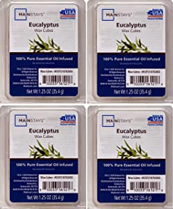 Mainstays Eucalyptus Essential Oil Infused Wax Cubes 1.25oz 4-Pack