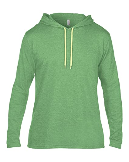 00dd06824 Amazon.com: Anvil A987Adult Lightweight Long-Sleeve Hooded Tee (Small,  Heather Green): Clothing