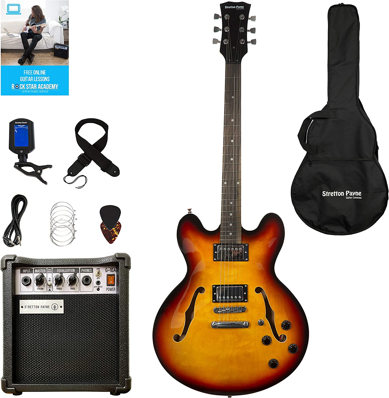 Guitarra eléctrica semiacústica con amplificador de práctica, bolsa acolchada, correa, púa, sintonizador, cuerdas de repuesto, de Stretton Payne 335 Guitarra en color marrón.