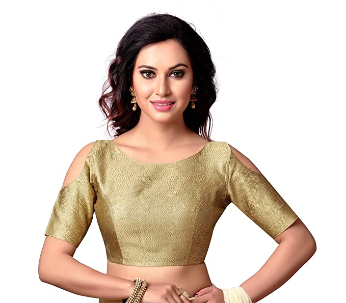 f9b7a5514c71d5 STUDIO SHRINGAAR GOLDEN BROCADE COLD SHOULDER READYMADE BOAT NECK SAREE  BLOUSE WITH ELBOW LENGTH SLEEVES (